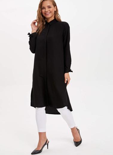 DeFacto Püskül Detaylı Uzun Kollu Tunik Siyah